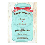 Red Gingham & Burlap Mason Jar Save the Date Personalized Invitations