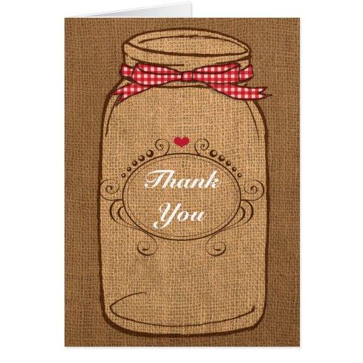 Red Gingham & Burlap Mason Jar Thank You Stationery Note Card