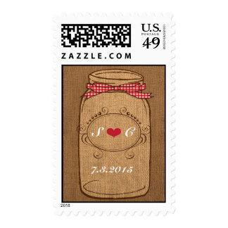 Red Gingham & Burlap Mason Jar Wedding Stamp