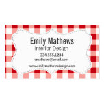 Red Gingham Business Card Template