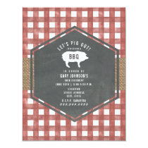 Red Gingham Chalkboard Pig Burlap Birthday Bbq Invitation