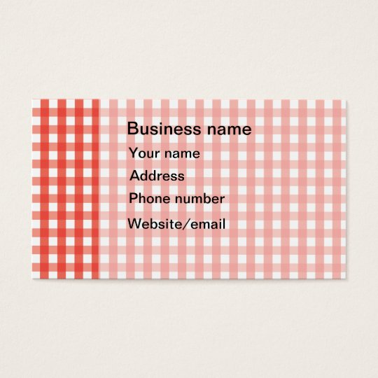Red Gingham Check Pattern Business Card