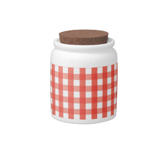 Red Gingham Check Pattern Candy Jars