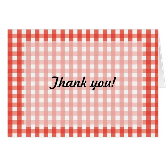 Red Gingham Check Pattern Card