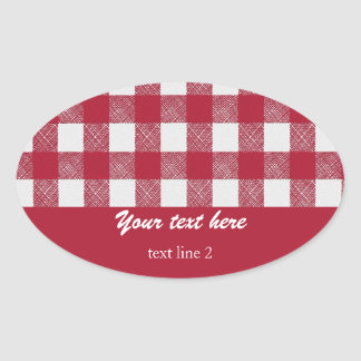 Red gingham check pattern food contaner label stickers