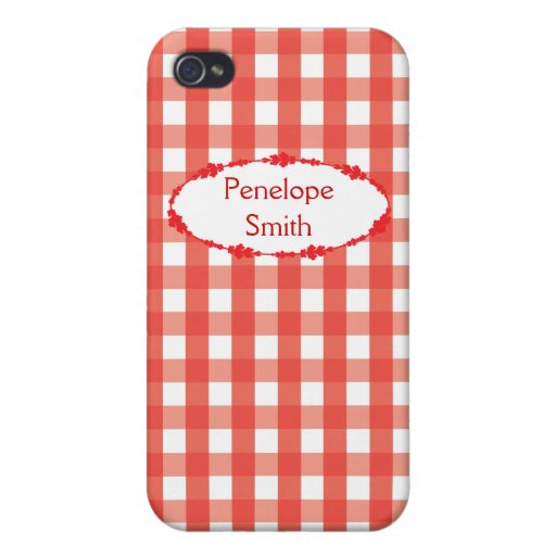 Red Gingham Check Pattern iPhone 4/4S Cases