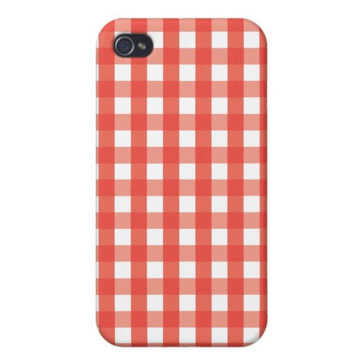 Red Gingham Check Pattern iPhone 4 Covers