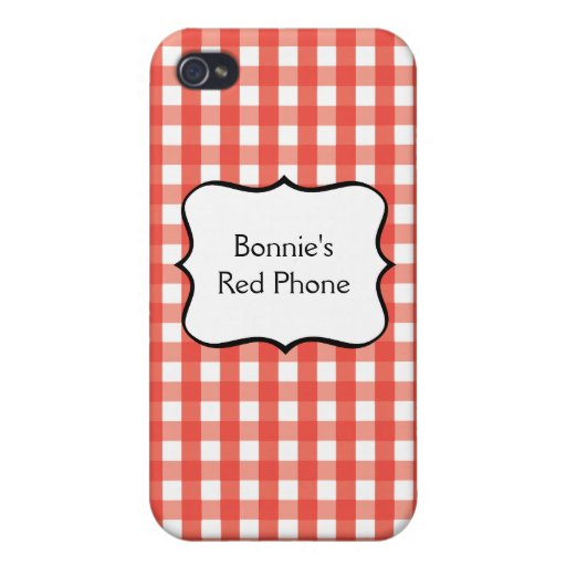 Red Gingham Check Pattern iPhone 4 Cover