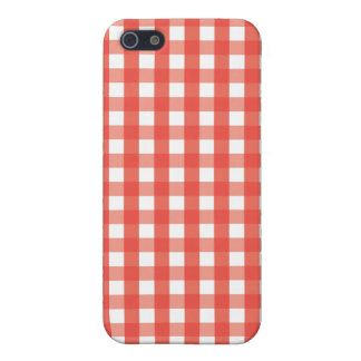 Red Gingham Check Pattern iPhone SE/5/5s Cover
