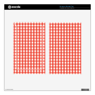 Red Gingham Check Pattern Kindle Fire Skins