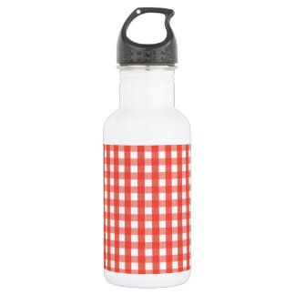 Red Gingham Check Pattern Stainless Steel Water Bottle