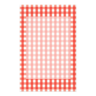 Red Gingham Check Pattern Stationery