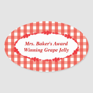 Red Gingham Check Pattern Oval Sticker