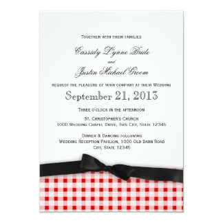 Red Gingham Check Pattern with Ribbon 5x7 Paper Invitation Card