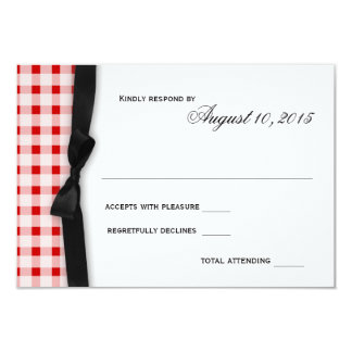 Red Gingham Check Pattern with Ribbon Response Invite