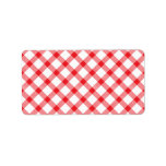 Red Gingham Checker Checked Checkered Pattern Custom Address Labels