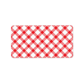 Red Gingham Checker Checked Checkered Pattern Label