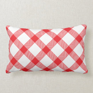 Red Gingham Checker Checked Checkered Pattern Pillow