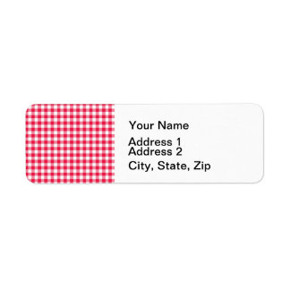 Red Gingham checkered classic pattern Label