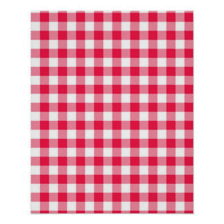 Red Gingham checkered classic pattern Poster