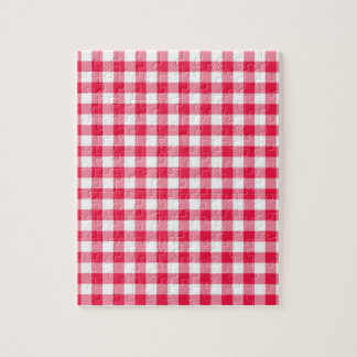 Red Gingham checkered classic pattern Jigsaw Puzzle