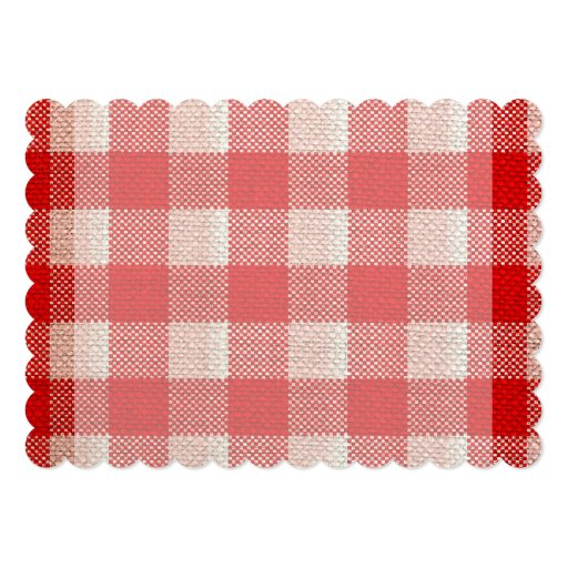 red gingham checkered pattern burlap look 5x7 paper invitation card