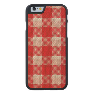 Red Gingham Checkered Pattern Burlap Look Carved Maple iPhone 6 Slim Case