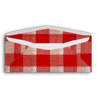 Red Gingham Checkered Pattern Burlap Look Envelope