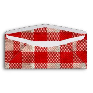Red Gingham Checkered Pattern Burlap Look Envelopes