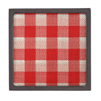 Red Gingham Checkered Pattern Burlap Look Jewelry Box