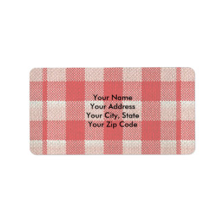 Red Gingham Checkered Pattern Burlap Look Label