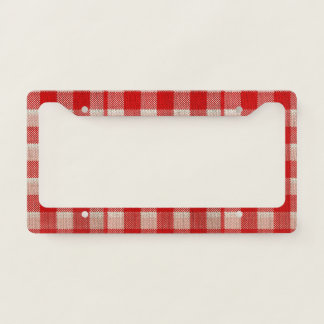 Red Gingham Checkered Pattern Burlap Look License Plate Frame