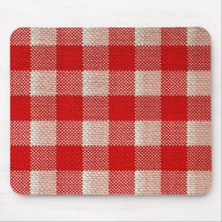 Red Gingham Checkered Pattern Burlap Look Mouse Pad