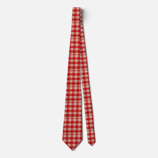 Red Gingham Checkered Pattern Burlap Look Neck Tie