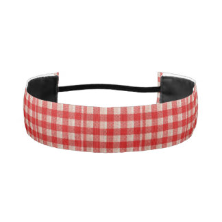 Red Gingham Checkered Pattern Burlap Look Elastic Headbands