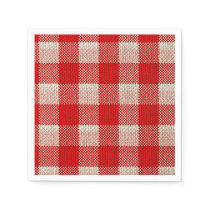 Red Gingham Checkered Pattern Burlap Look Paper Napkin