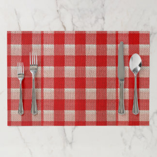 Red Gingham Checkered Pattern Burlap Look Paper Placemat