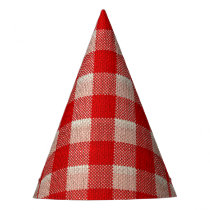 Red Gingham Checkered Pattern Burlap Look Party Hat