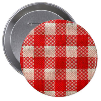 Red Gingham Checkered Pattern Burlap Look Pinback Button