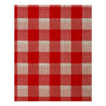 Red Gingham Checkered Pattern Burlap Look Poster