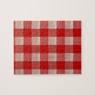 Red Gingham Checkered Pattern Burlap Look Puzzle