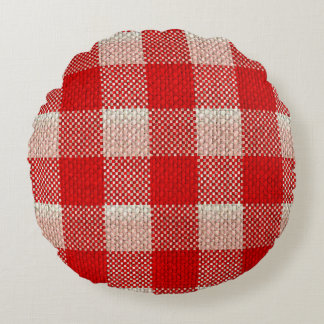 Red Gingham Checkered Pattern Burlap Look Round Pillow