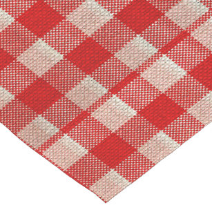 Delicieux Red Gingham Checkered Pattern Burlap Look Short Table Runner