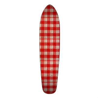 Red Gingham Checkered Pattern Burlap Look Skateboard