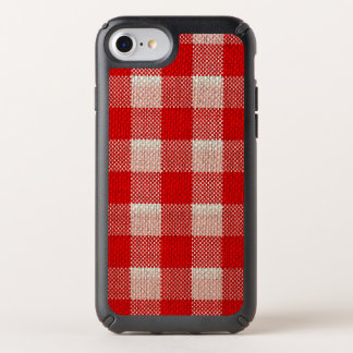 Red Gingham Checkered Pattern Burlap Look Speck iPhone Case