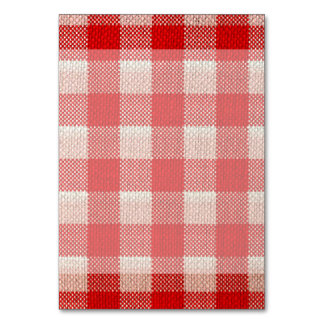Red Gingham Checkered Pattern Burlap Look Table Card