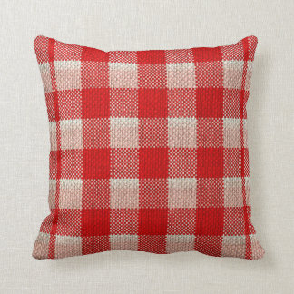 Red Gingham Checkered Pattern Burlap Look Throw Pillow