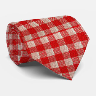 Red Gingham Checkered Pattern Burlap Look Tie