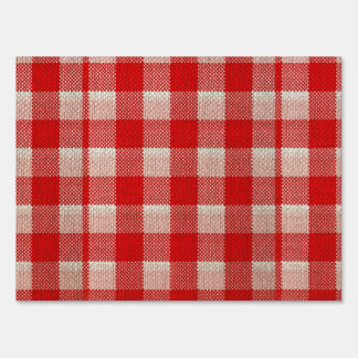 Red Gingham Checkered Pattern Burlap Look Sign