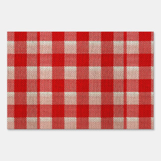 Red Gingham Checkered Pattern Burlap Look Signs